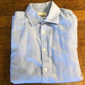 Michael Kors blue and white gingham dress shirt.